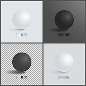 Sphere Geometric 3D Shapes in Black and White Set