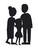 Mother Father and Dauhgter, Family Vector Banner