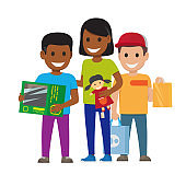 Cartoon Set of Smiling Family, Who Goes Shopping