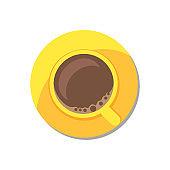 Coffee in Golden Tableware Vector Illustration