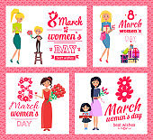 8 March Womens Day Best Wishes Vector Illustration