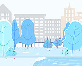 Winter Landscape, Cityscape Buildings and Trees