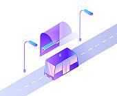 Smart Car Public Transport on City Road Street