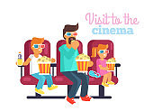 Visit to Cinema with Father Poster Illustration