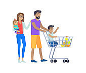 Family Shopping Together, Vector Illustration