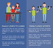 Family Loves Sports and to Learn Two Color Banners