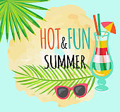 Hot and Fun Summer Poster with Cocktail and Leaves