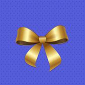 Present or Gift Elegant Tied Satin Ribbon of Gold