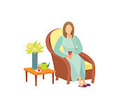 Woman Sitting on Armchair in Resting Room Cartoon