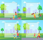 People Spending Leisure Time in Park Illustration