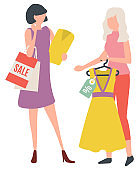Woman Buying Dress, Lady Shopping, Clothes Vector