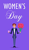 Happy Man in Suit Holds Precious Stone and Flowers