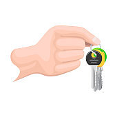 Keys on Keyring in Human Hand Flat Style Vector