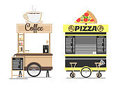 Coffee and Pizza Shops Mockups Isolated on White