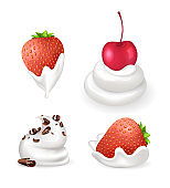 Dessert Cream and Berries Vector Illustration