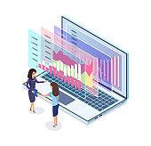 Digital Marketing Graphic in Laptop, Businesswomen