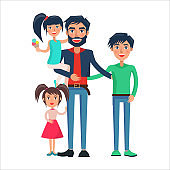 Happy Father of Many Children Vector Illustration