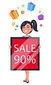 Happy Customer Holding Table 90 Percent Sale Ad