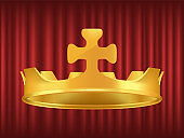 Royal Golden Crown Decorated with Cross Vector