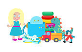Doll and Robot Set of Toys Vector Illustration