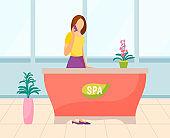 Spa Consultation, Receptionist in Salon Vector