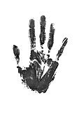 Black watercolor print of human hand on white background isolated closeup, handprint illustration, monochrome palm and fingers silhouette mark, one hand shape painted stamp, stop sign, drawing imprint