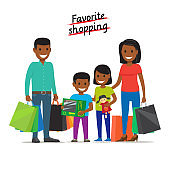 Favorite Shopping. Family Makes Purchases at Mall