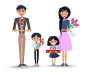 Family with Bouquets and Present Illustration