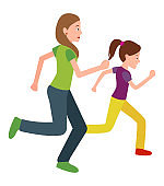 Mother and Daughter Run Jogging Together Vector