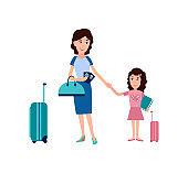 Passport Control in Airport Vector Illustration