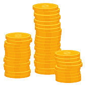 Coins Dollar Money, Profit From Business Vector