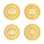 Gold Certificates with Royal Crowns Silhouettes