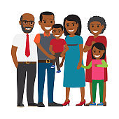 Tree Generations of Family Together Flat Vector