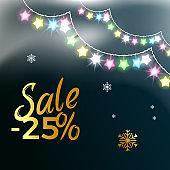 Sale -25% Garlands &Snowflake Vector Illustration