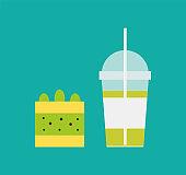 Milkshake and Piece of Cake with Lemon and Kiwi
