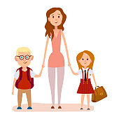 Young Mother Holding Two School Children Art Icon