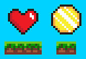 Coin and Heart on Ground, Pixel Game Icons Vector