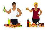 Overweight People, Fast Food or Unhealthy Vector