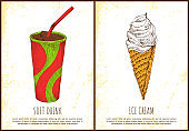 Soft Drink and Ice Cream Colorful Vector Poster
