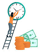 Girl Winds the Clock, Coins and Dollars Vector