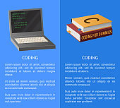 Coding Banner with Portable Computer and Textbooks