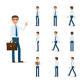 Businessman Character Collection Moving Steps.