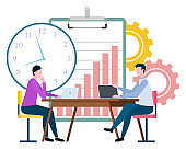 People Working at Office Time Management Vector