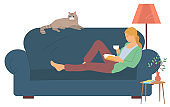 Girl Reading Book, Leisure at Home, Hobby Vector
