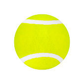 One green tennis ball on white background isolated close up, single yellow tennis ball cutout, sport equipment, nobody, studio shot