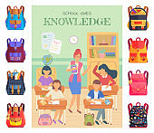 Lesson in School, Classmates and Teacher Bags Set