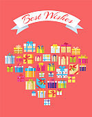 Best Wishes Banner in Heart Shape Gift Box Present