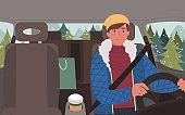 Teenage Boy Traveling in Car Alone Winter Trip