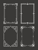 Chalk Style Set Vintage Frames Decorative Border