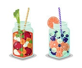 Jars Refreshing Detox Juice Vector Big Glass Cups